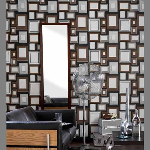 Wall Decor Frames rectangular-photo-frames-wallpaper-pattern-wall-decor-ideas
