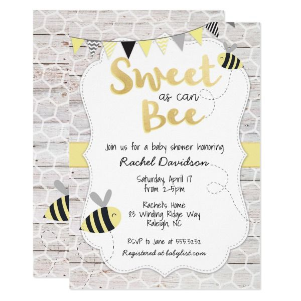 Sweet As Can Bee Baby Shower Invitation Zazzle Com Bee Baby Shower Invitations Bee Baby Shower Bee Baby Shower Theme