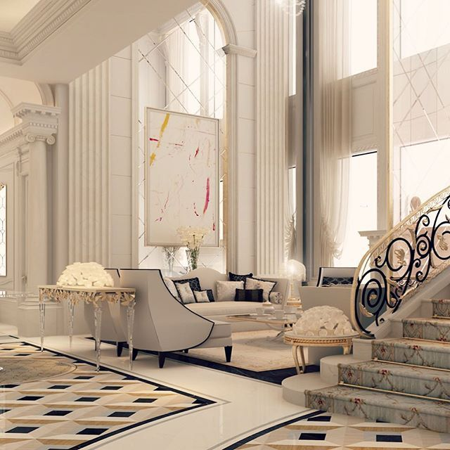Luxury House Interior Dubai Amazing Luxury Villas: Beautiful Living Space And Staircase