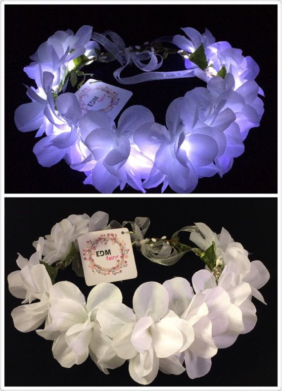 White-LED flower crown floral headband light up flower by EDMfairy ... 8f32ca78506