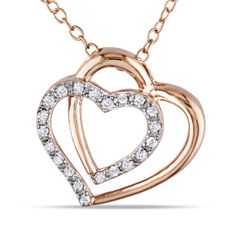 1/10 CT. T.W. Diamond Double Tilted Heart Pendant in Sterling Silver and 14K Rose Gold Plate - Zales