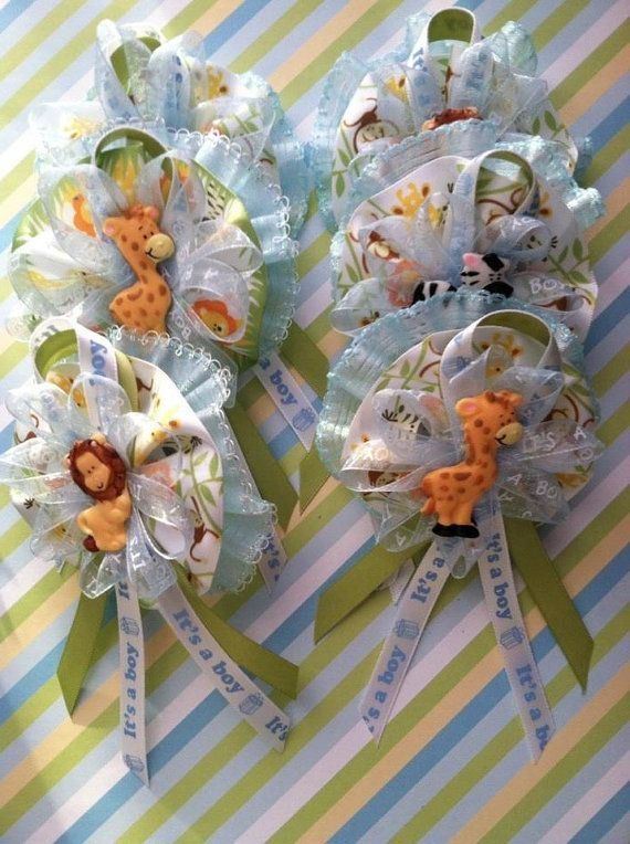 Safari Animal Baby Shower Theme Guest Corsage Capias Corsage