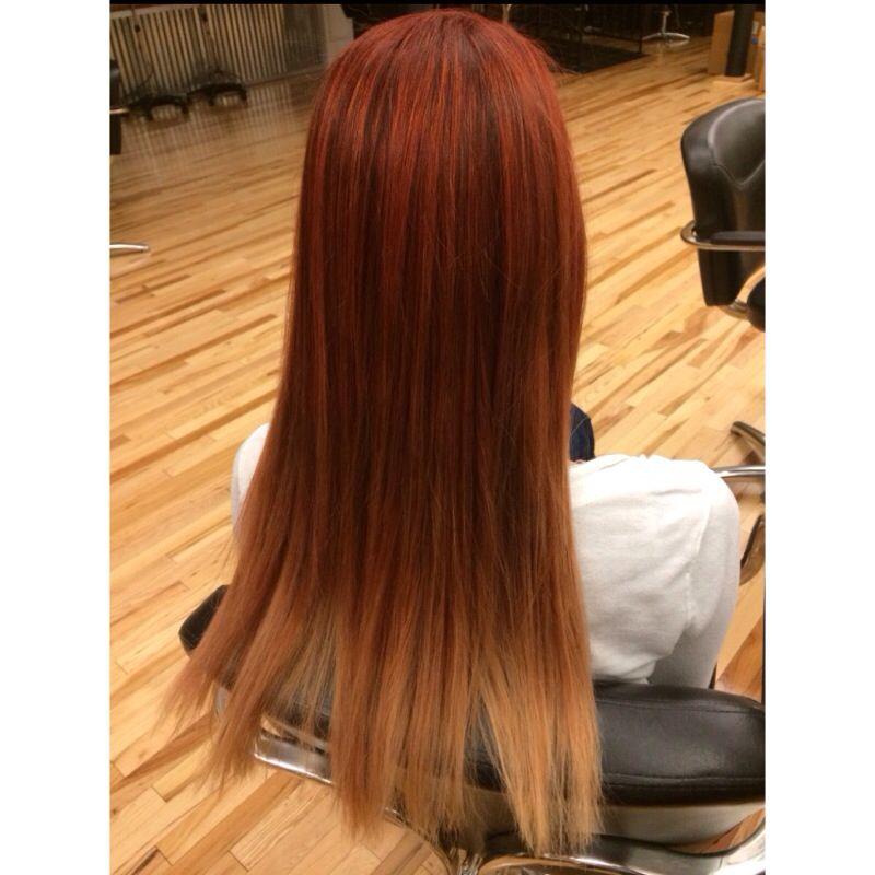 Fall Ombre Red Copper Blonde Using Matrix Colorsync Hdrr Rc