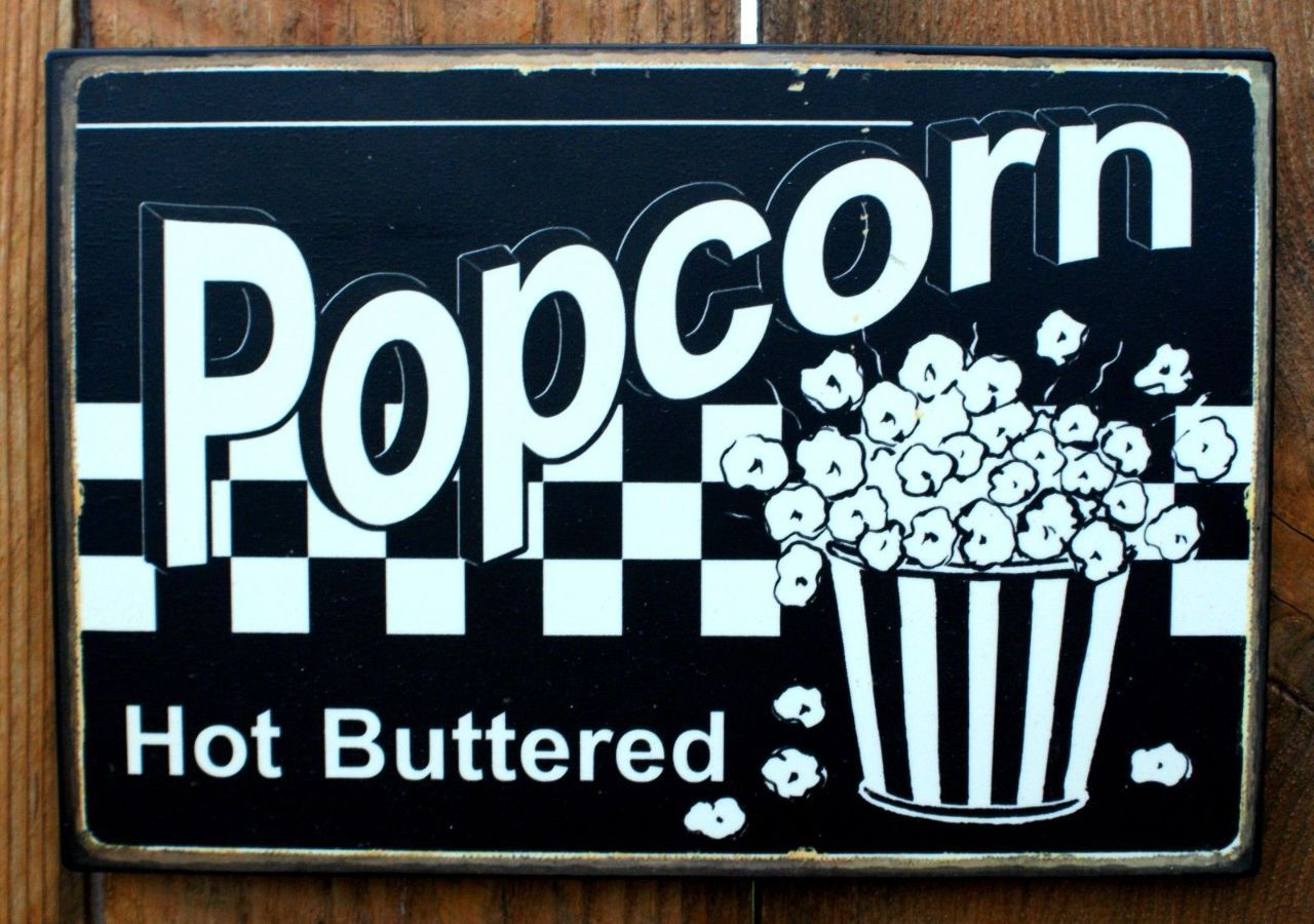 Pin Hot Buttered Popcorn Tin Sign Home Theater Movie Room Kitchen ...