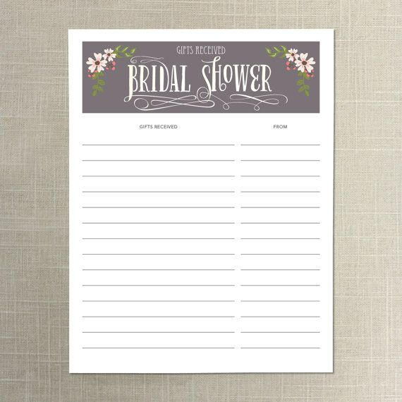 Instant Download Bridal Shower Gift List By Creativeuniondesign