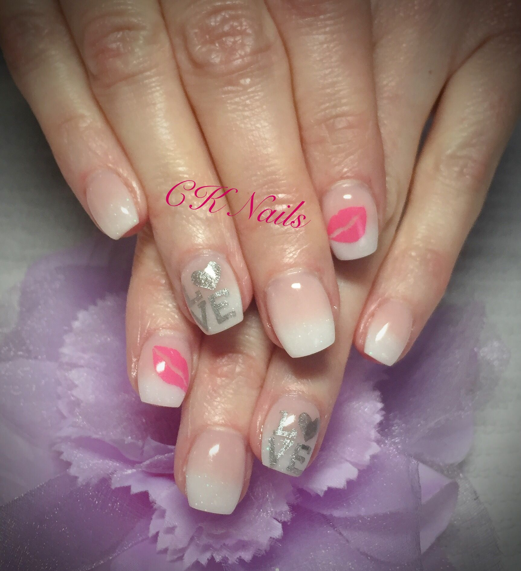 Ck Nails Valentine S Day Nails Love Kisses Nailart Stamps French Fade Nails French Ombre Nails Short Nails Ta Nail Shapes French Fade Nails Faded Nails