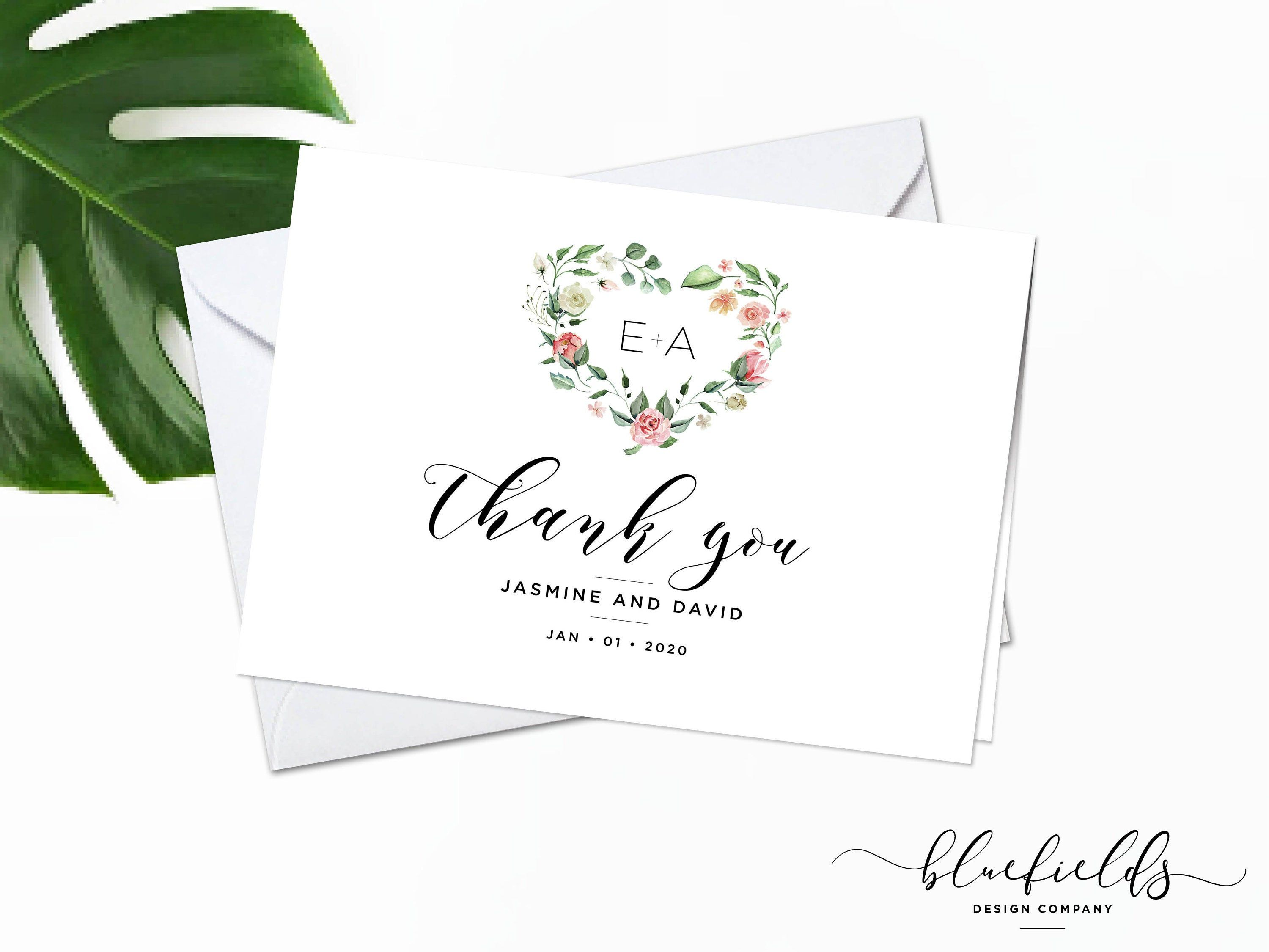 Thank You Card Folded 10 Pack Wedding Thank You Note Bridal In