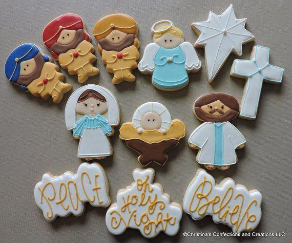 Christmas Nativity Scene Set Of 12 Decorated Sugar Cookies 2674