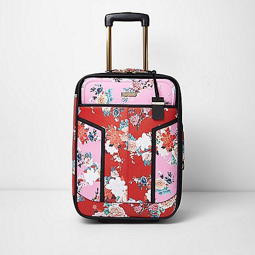 Pink and red floral print cabin suitcase - luggage - bags / purses ...