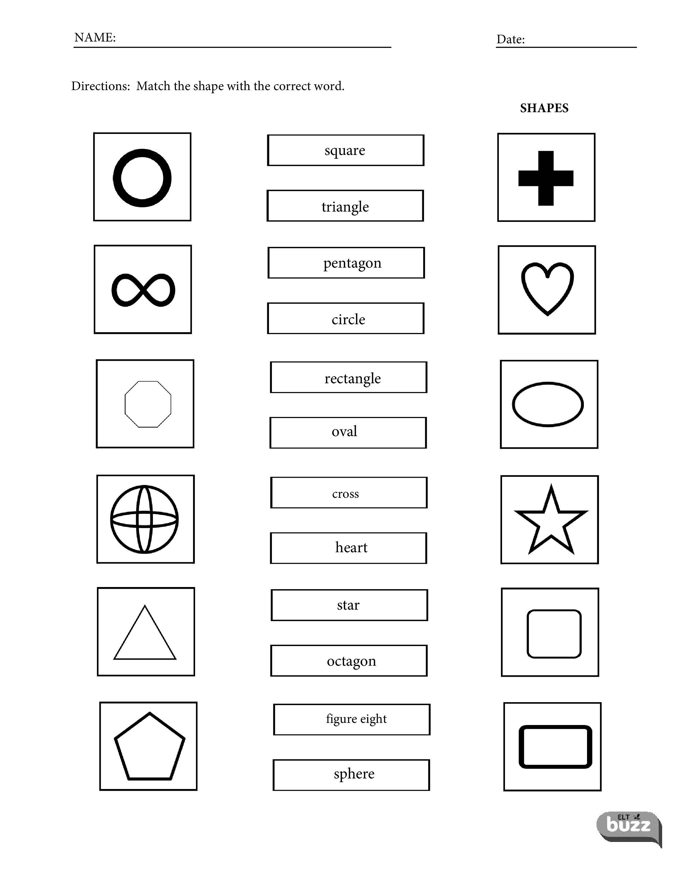 Printable Shapes Vocabulary Worksheets For Esl Efl