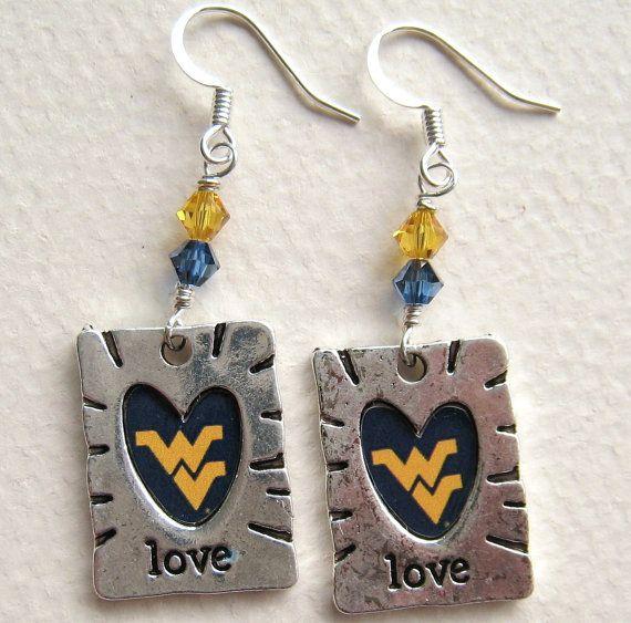 Love West Virginia University Wvu Earrings Heart Blue And