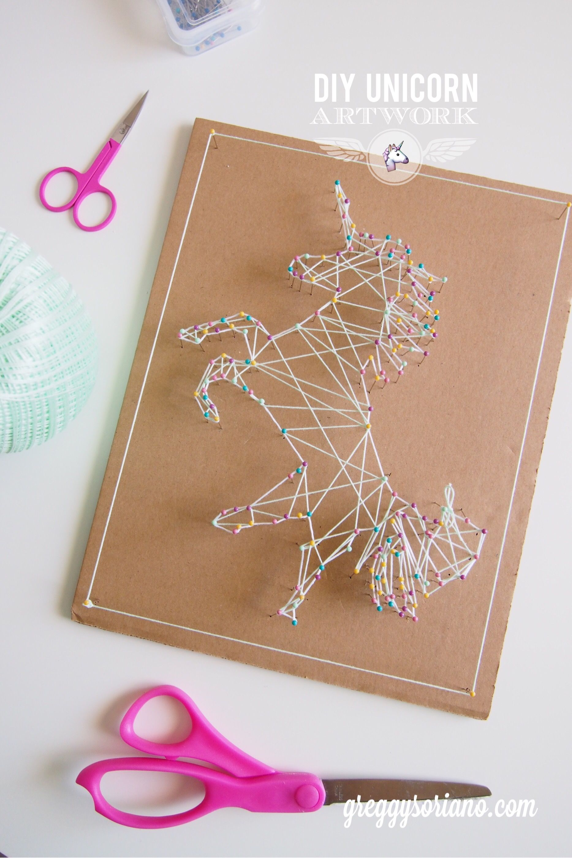 DIY Unicorn Artwork (String Art) - cross Stitch | Pinterest ...