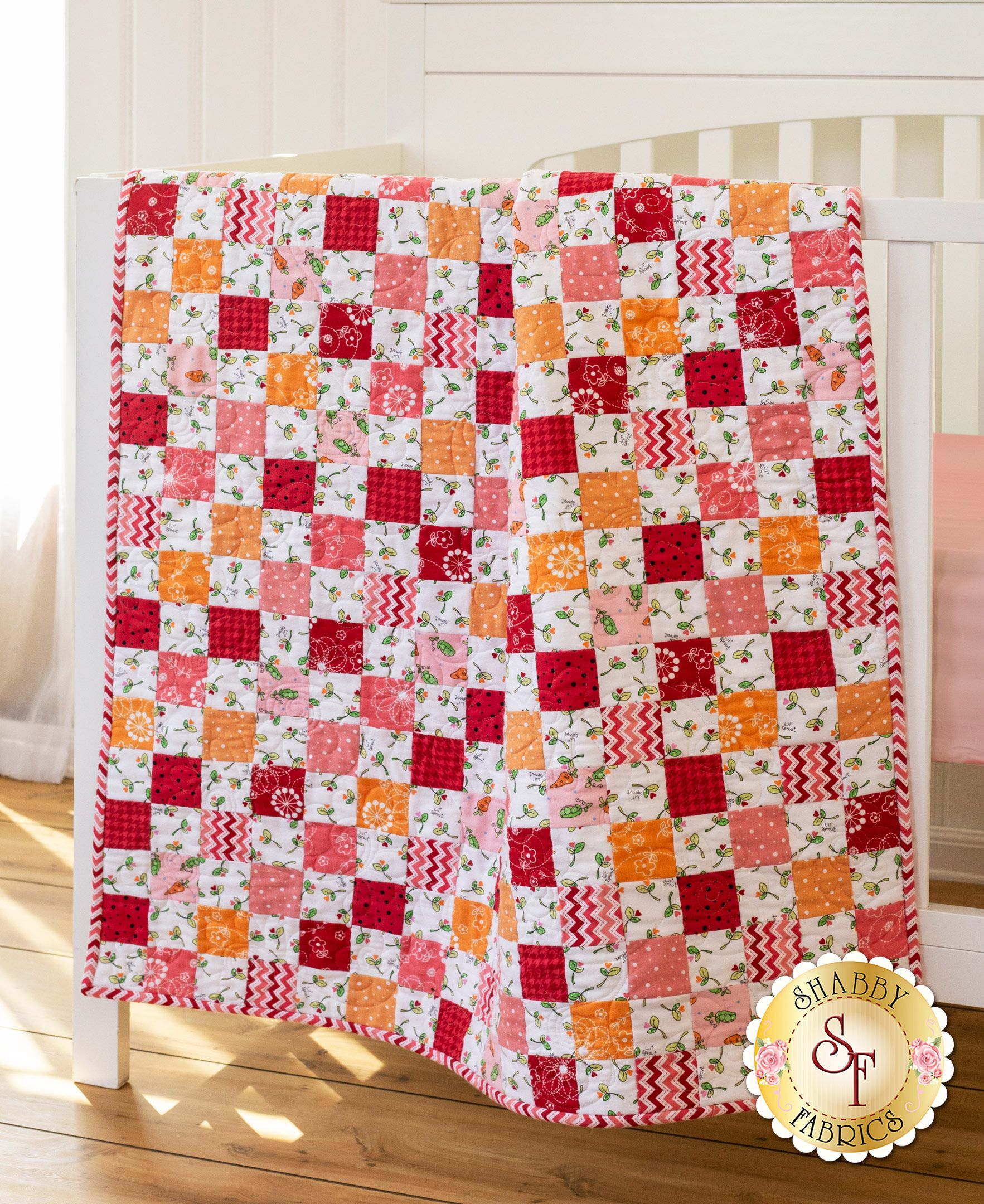 Crib Quilt Kit - Lil Sprout Flannel Pink | Kids & Baby