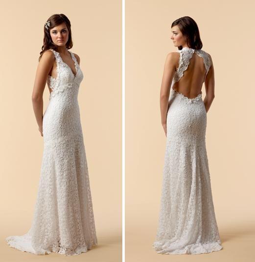 vintage lace wedding dress open back | Wedding dresses | Pinterest ...