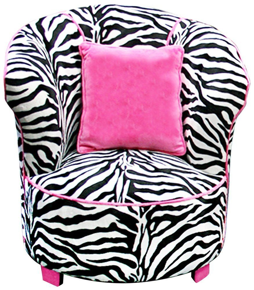 Bean bag chairs for teenage girls - Comfortable Black And White Zebra Print Saucer Chair With Curved Shaped Back Rest Complete With The