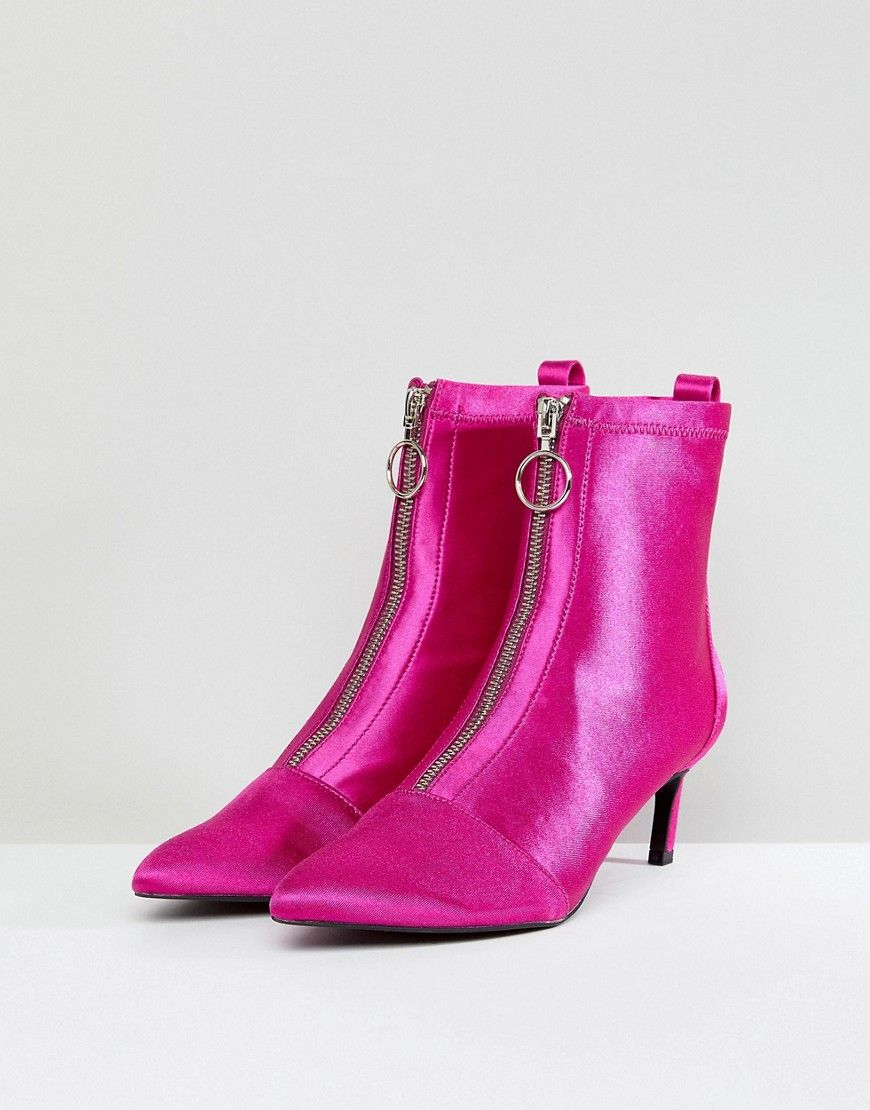 Zip Front Stiletto Boot - Pink Stradivarius XCrdRcRFsK