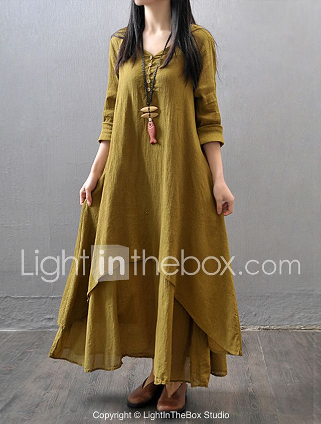 d7ca24df158 Women's Casual/Daily Simple Chinoiserie Loose Dress,Solid V Neck Maxi Long  Sleeve Cotton Polyester Fall Mid Rise Inelastic Thin 2017 - $15.99