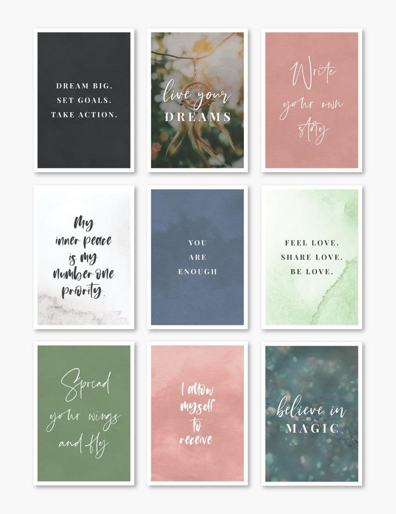 Printable Affirmation Cards Inspirational Quotes Vision Etsy In 2021 Positive Affirmation Cards Affirmation Cards Affirmations