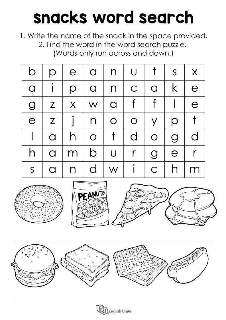 Word Search Puzzle Snacks English Unite Food Words Word Search Puzzle English Activities [ 1121 x 793 Pixel ]
