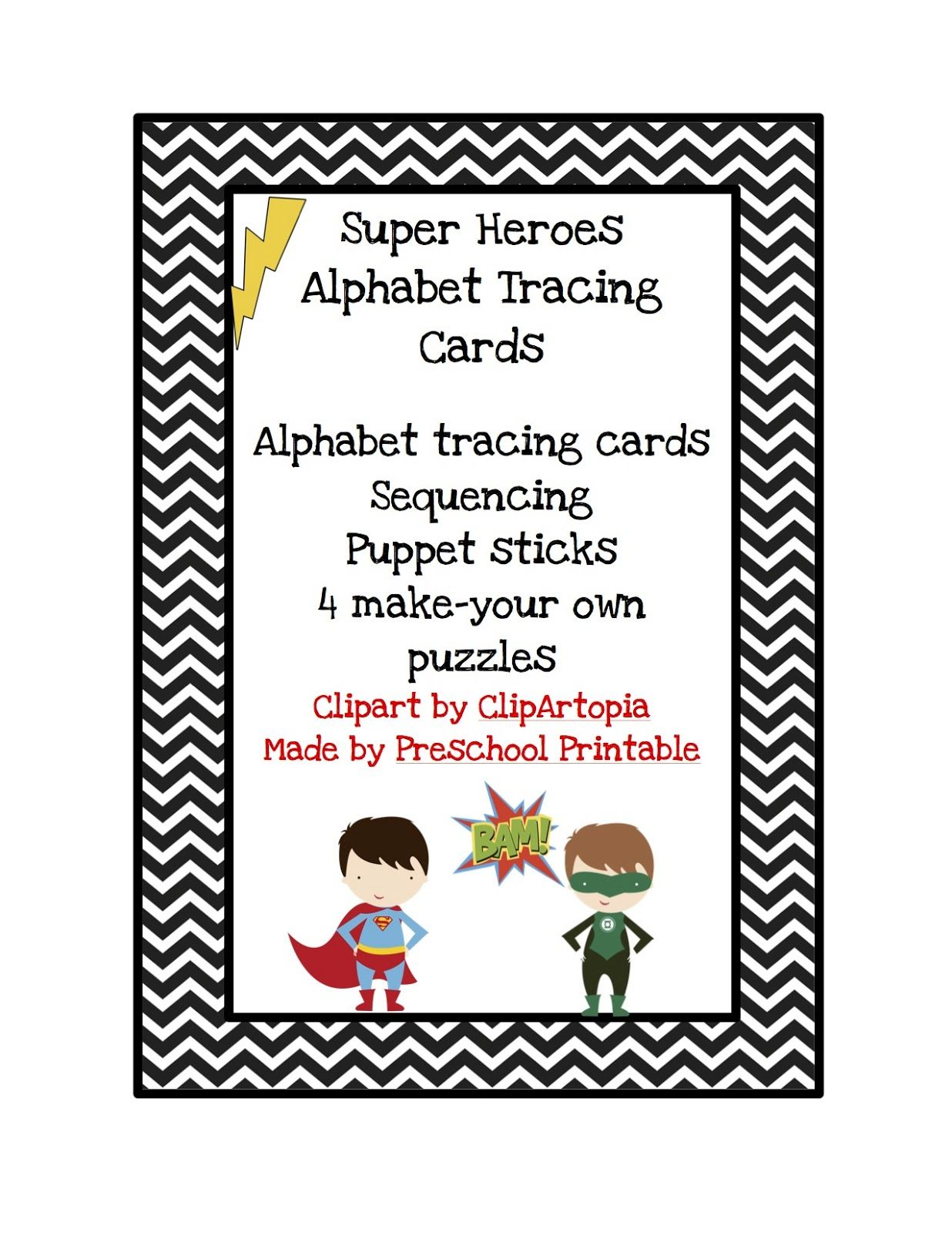 Super Hero Alphabet Tracing Cards With Images