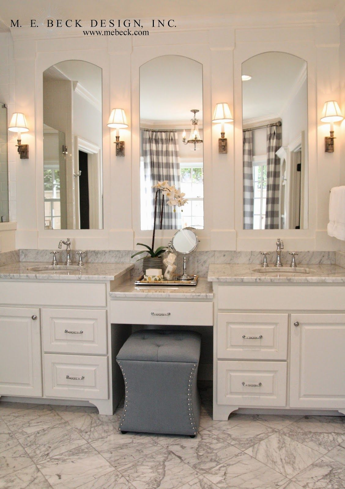 Live Beautifully Center Hall Colonial Master Bath Disguising A Huge Wall Mirror In Bathroom