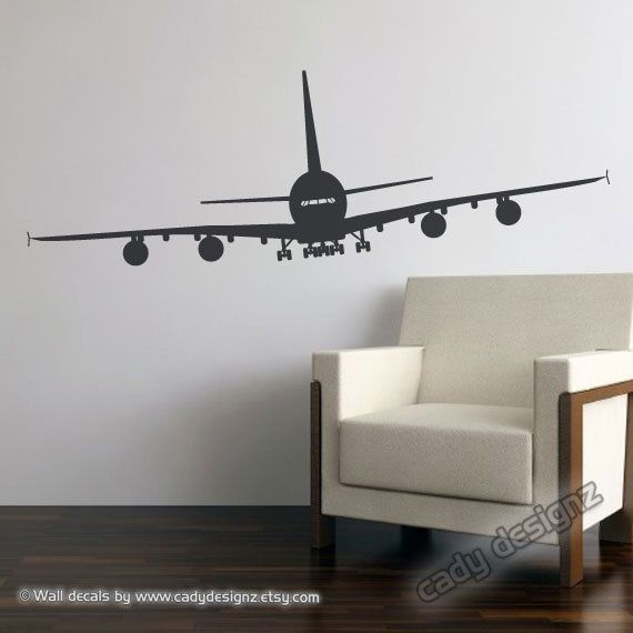 Airplane Vinyl Wall Decal   Airbus A380   Aviation Wall Decor   LARGE Jumbo  Jetliner Vinyl Wall Sticker   15x48