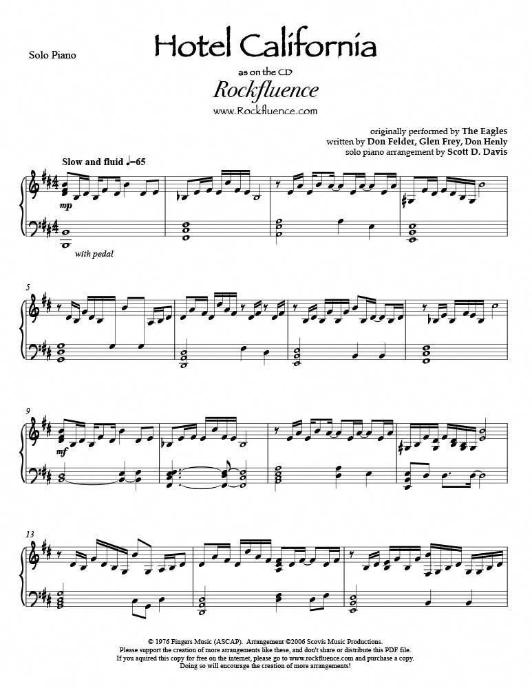 Hotel California Pdf Download With Images Sheet Music Piano