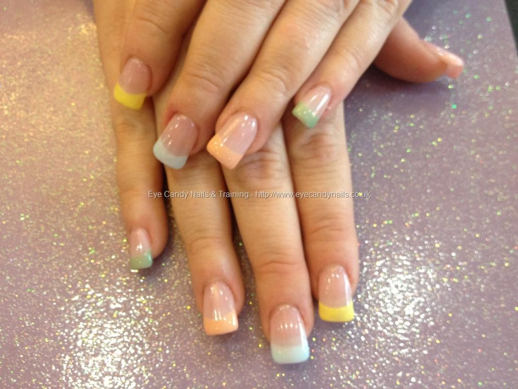 Acrylic Nails With Pastel Coloured Tips Nails Acrylic Nails Gel Nail Extensions