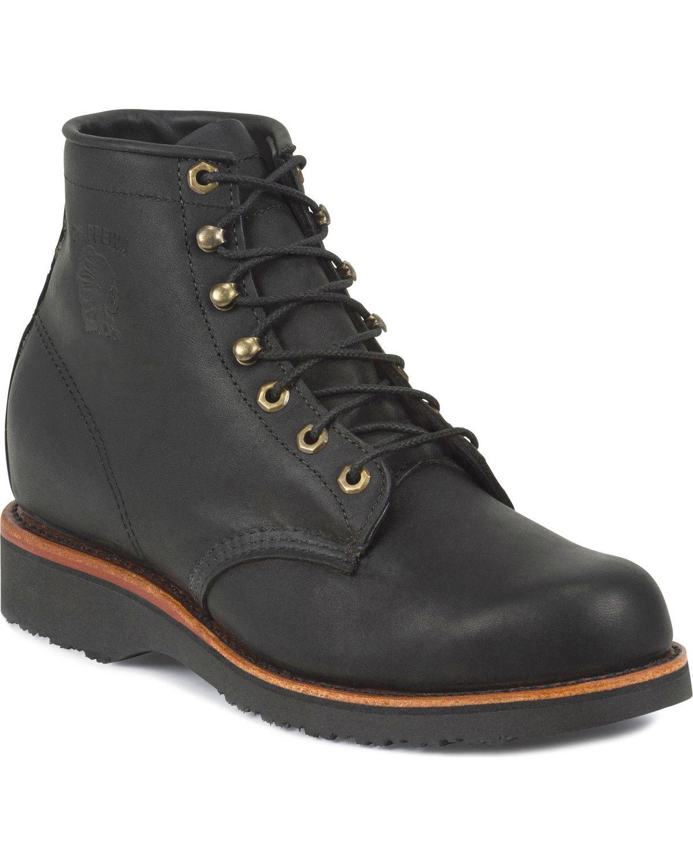 "Chippewa Men's Black Odessa 6"" LaceUp Work Boots Round"