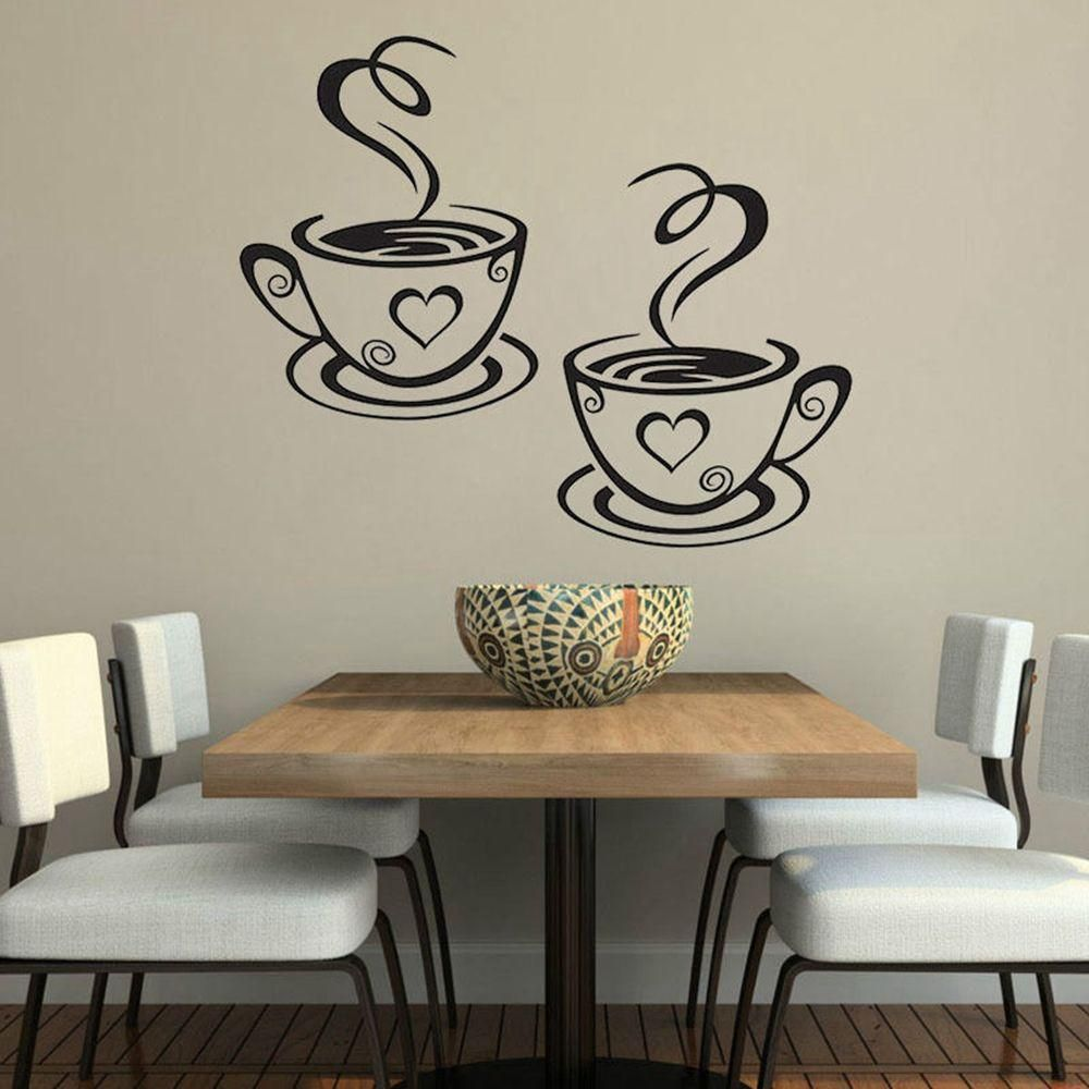 Wall Sticker Tea Coffee Cups Home Decal Cafe Dining Room all