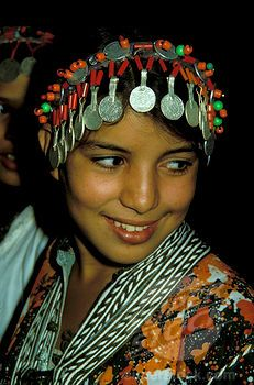 Morocco Young Berber Girl With Traditional Headdress Made With