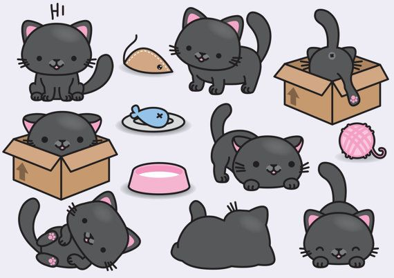 Premium Vector Clipart Kawaii Black Cats Cute Black Cats Clipart Set High Quality Vectors Instant Download Kawaii Cats Clipart Cat Clipart Cute Doodles Cat Vector