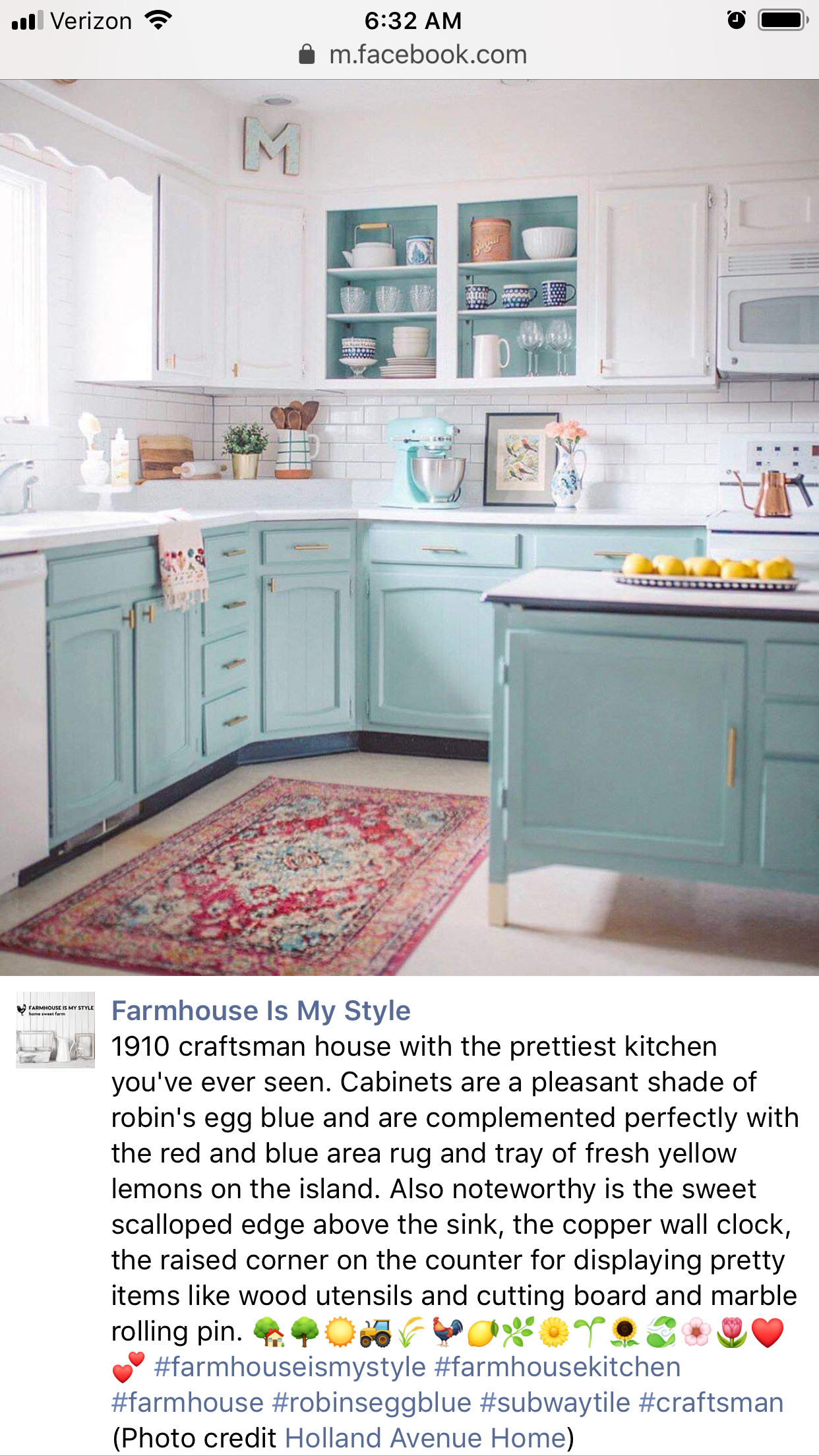 Love these robin's egg blue kitchen cabinets! # ...
