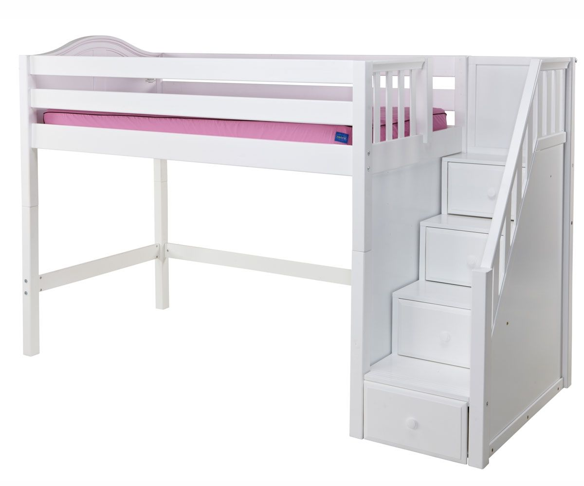 Maxtrix Mid Height Staircase Loft Bed Bedroom Furniture Beds Matrix Furniture Kids Loft Beds Low Loft Beds Loft Bed Stairs