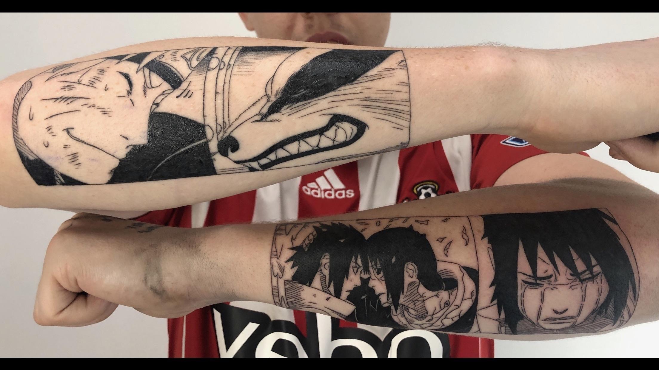 My Naruto And Kurama And Sasuke And Itachi Pieces By Justin Tolentino At Skin Design Tattoo In Las Vegas Sasuke And Itachi Naruto Tattoo Tattoos