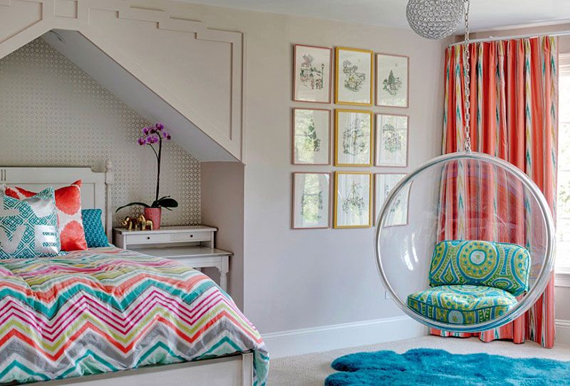 Teenager Rooms fun room - the hanging bubble chair and fur rug allow for a teen