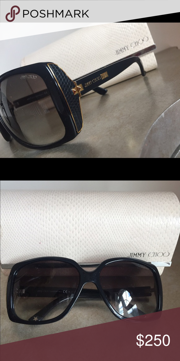 35bc5ba92f59 100% Authentic designer Jimmy Choo sunglasses. Used 100% Authentic black Jimmy  Choo sunglasses aviators. Bought from Saks years ago.