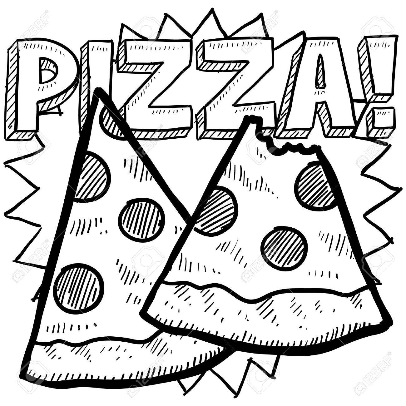 Doodle Style Pizza Illustration With Two Slices And Text Message In Format Stock Vector 16929435 Pizza Drawing Doodles Doodle Illustration