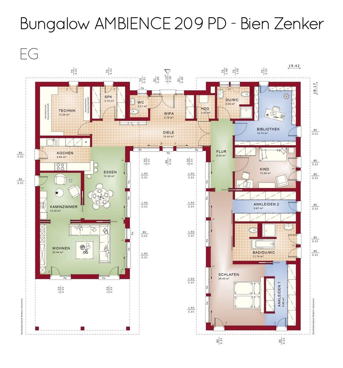 Moderner Bungalow Grundriss mit Innenhof & Pultdach