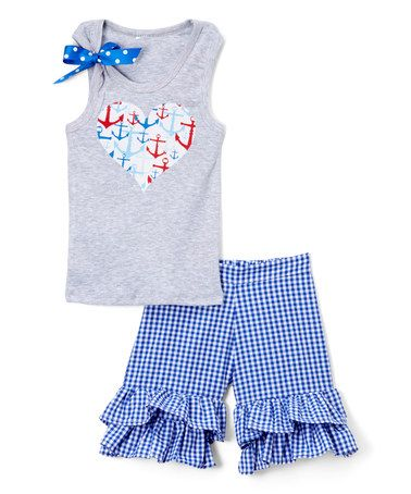 Loving this Gray & Blue Heart Tank & Shorts - Infant, Toddler & Girls on #zulily! #zulilyfinds