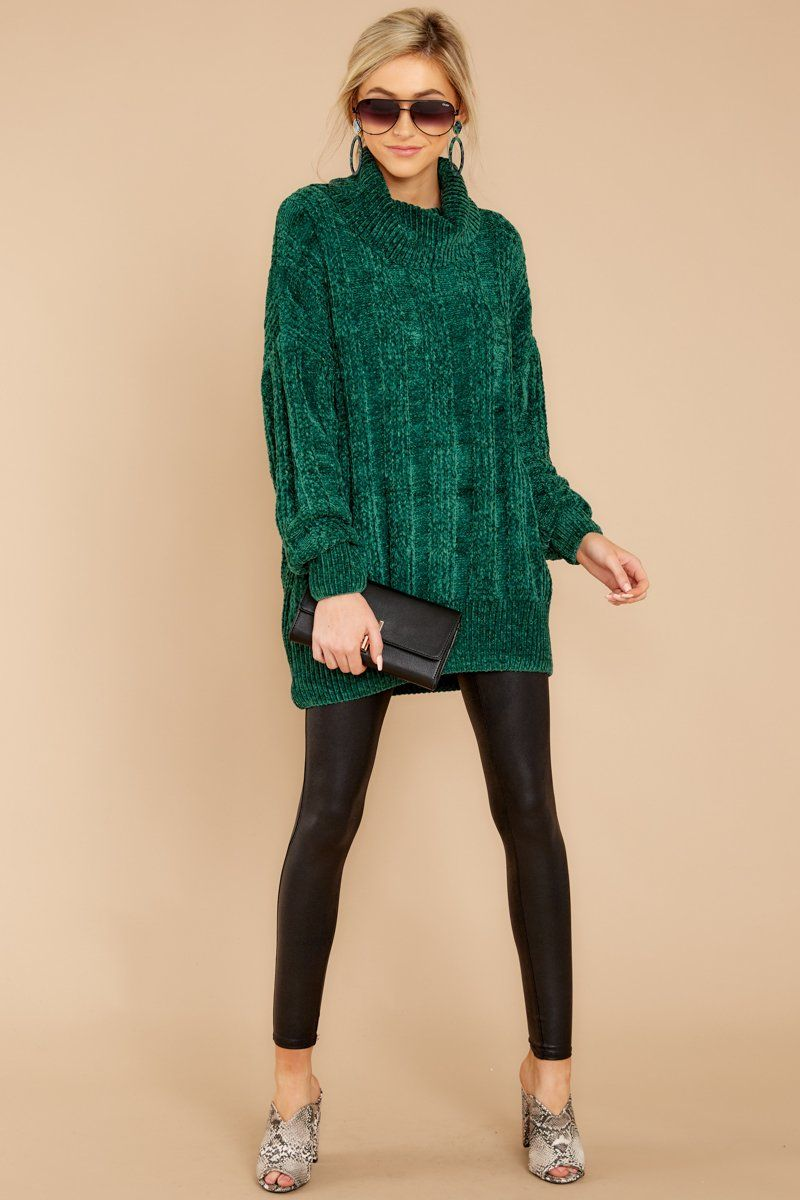 e66b7d72134fc Lovely Green Knit Turtleneck - Oversized Chenille Sweater - Top - $34 – Red  Dress Boutique