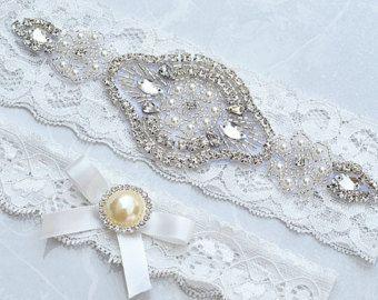 BLUSH PINK SALE Crystal pearl Wedding Garter Set by startrim