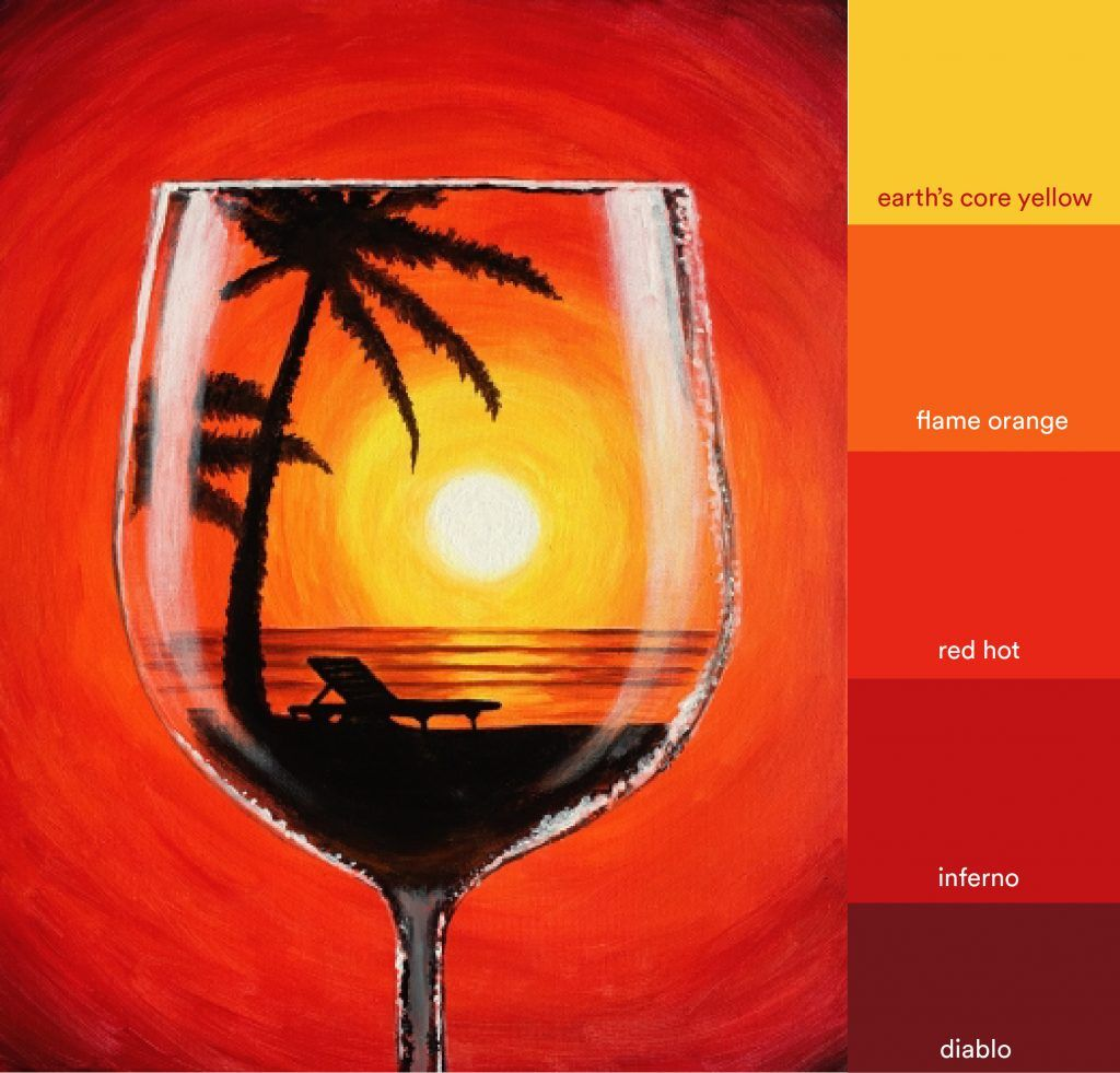 Mood Board Sunset Merlot More Than A Buzz Wine Painting Wine Glass Art Summer Painting