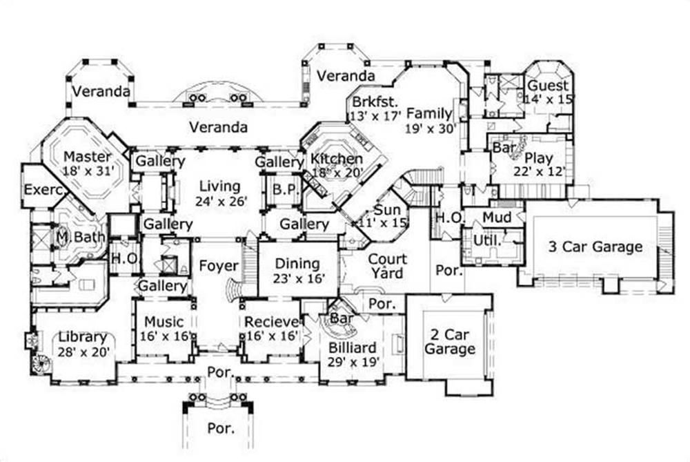 Large Images For House Plan 156 1754 Dream House Plans Monster House Plans Bedroom House Plans