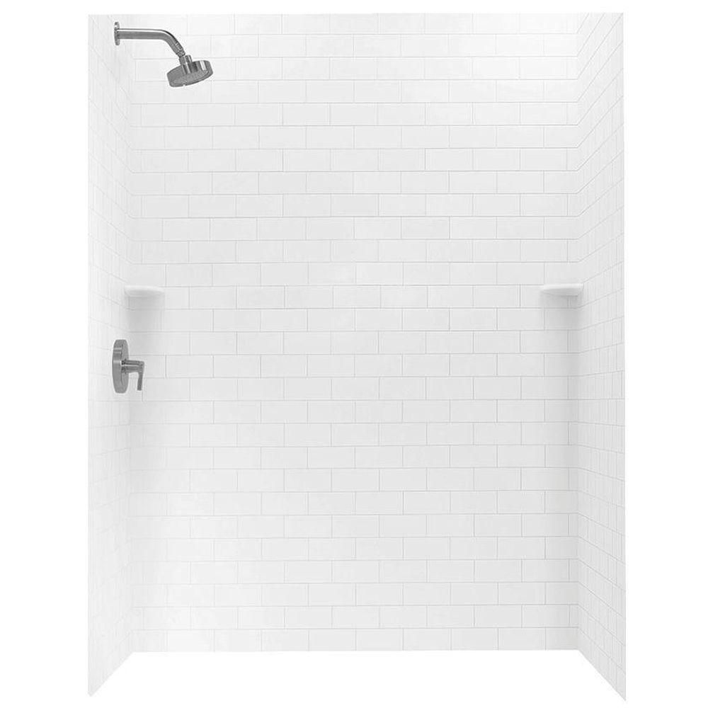Swan 36 in. x 62 in. x 72 in. 3-piece Solid Surface Subway Tile Easy ...