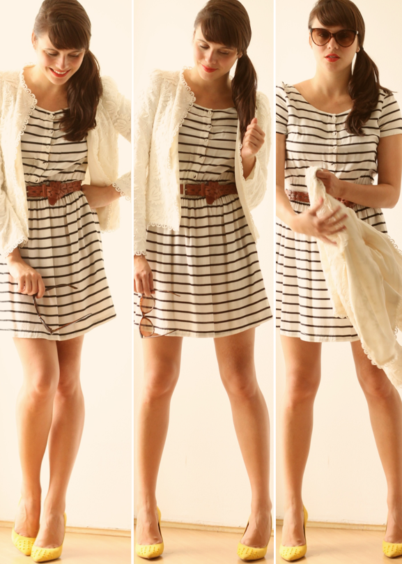 Vestido listrado azul e branco zara