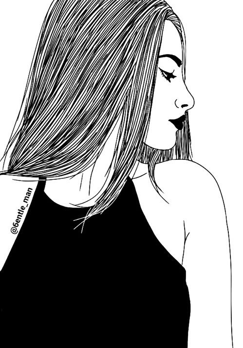 Outline Drawing And Black And White Image Girl Drawing Sketches Drawings Background Drawing