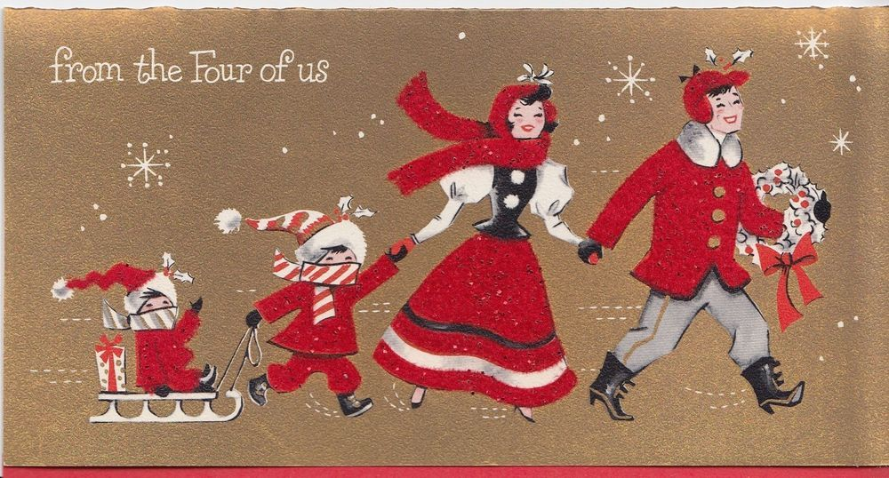 Vintage Greeting Card Christmas Flocked Family From the Four of Us Mid-Century