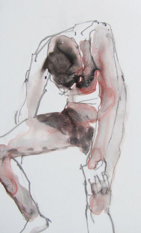 artformen:  slouching figure (acrylic, graphite on polypropylene)