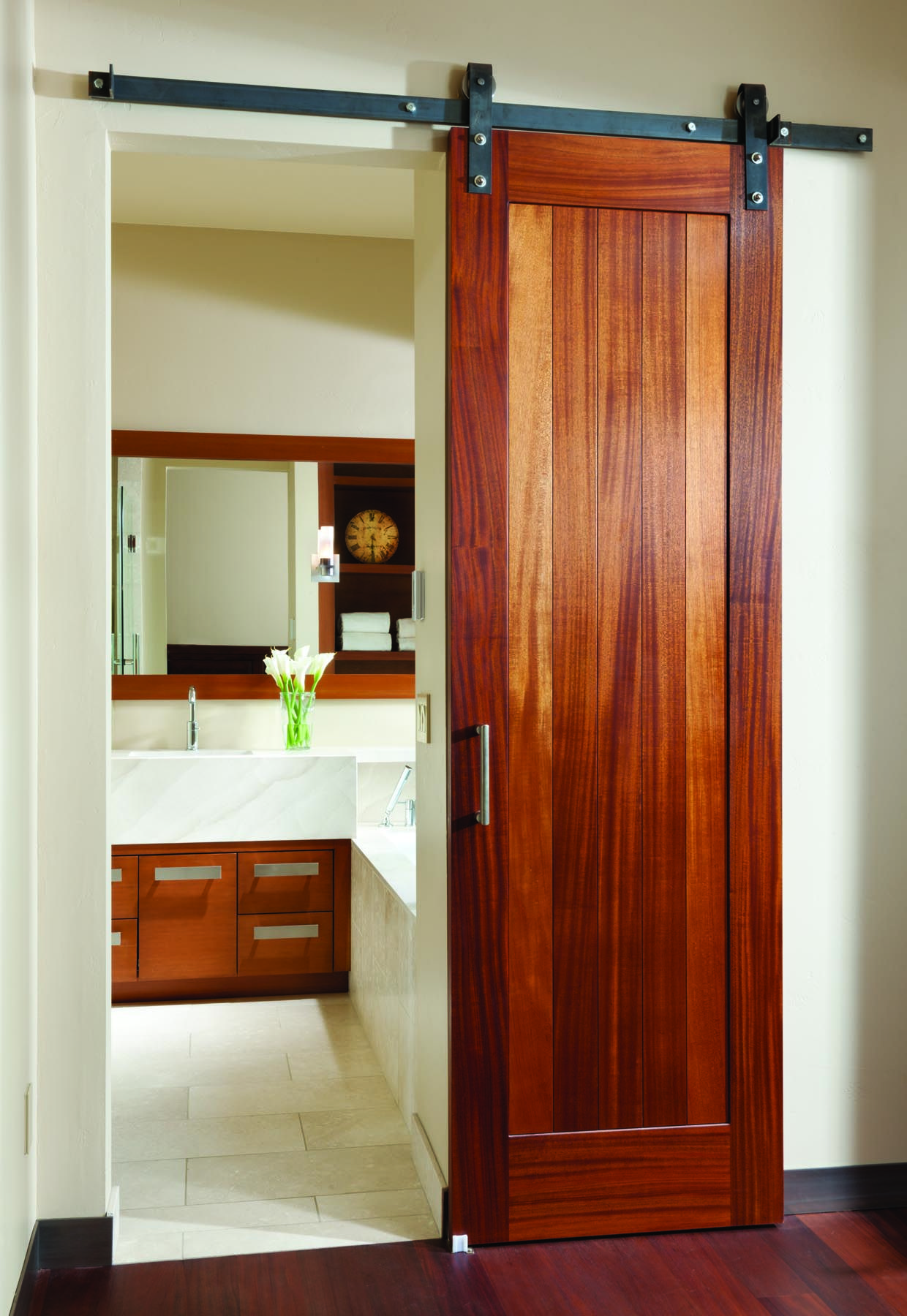 big sky journal custommade sliding barn doors outfit the bathroom and guest suites